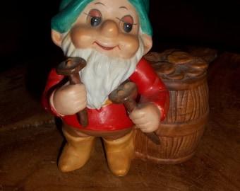 Vintage Dwarf, Vintage Elf, Russ Berrie #336 Dwarf Elf Gnome Builder Figurine