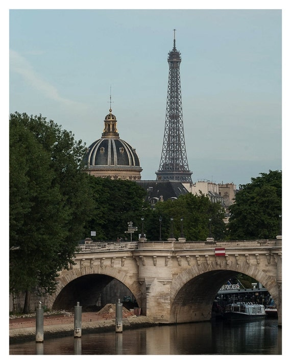 French wall decor, Sunday Morning view of the Eiffel Tower and Pont Neuf, Paris, fine art print, 5x7, 8x10