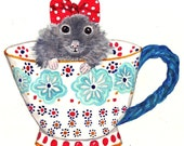 Mouse Watercolor - 5x7 Print, Greeting Card, Mouse in Teacup, Nursery Art