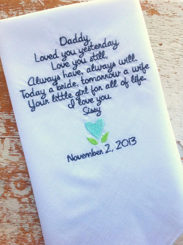 embroidered wedding handkerchief monogrammed dad from bride