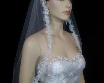 1 Tier  White Or Ivory bridal Veil / Veils Wedding Embellished Lace Edge | 1 layer bridal lace edge veil