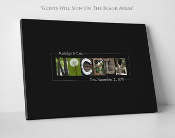 Wedding Guest Book // Alphabet Art // PROMO Gallery Wrapped Canvas - Limited Time Only // Fits 55-350 Signatures