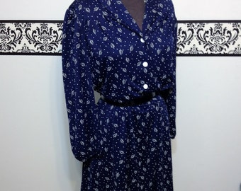 Navy Print 1960's Secretary Dress by Montgomery Ward, Vintage Rockabilly XL / Size 16