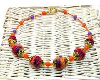 Orange - purple crochet necklace