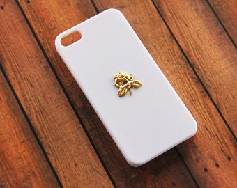 Gold Rose Flower iPhone 5 5s Case iPhone 5c Rose Case iPhone 7  Case White One Rose   S5 White Case Roses Flowers Gold