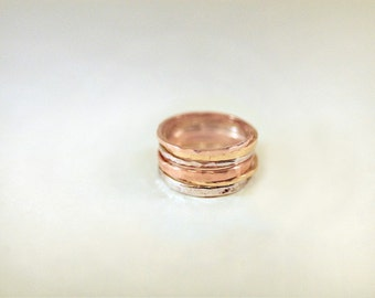 1mm and 2mm 14KT Stackable Hammered Bands