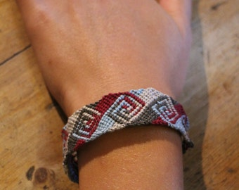 Handmade diamond pattern friendship bracelet maroon, sky blue, white, and grey