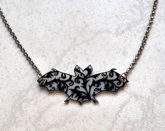 Ornamental Bat Pendant Necklace, Shrink Plastic Jewelry --- Gift box included