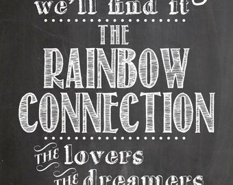 """Digital Download """"The Rainbow Connection"""" Kermit the Frog Muppets Chalkboard"""