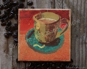Avocado Cafe. Decorative Ceramic Art Tile Coaster. Paper Collage and Word Design. 4.25 inches.