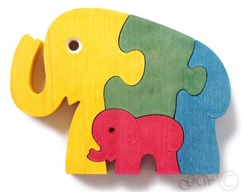 Wooden Puzzle Elephant, Wooden toys. Wooden Animal Puzzle M209