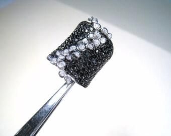 Black & White Cubic Zirconia Designer Ring size 7.5 - 925 Sterling Silver