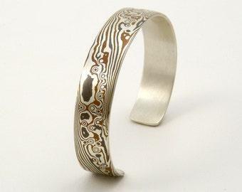 Mokume Gane Cuff Bracelet sterling silver copper - Turbulence