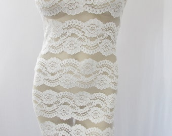 sale White Lace Dress BodyCon Strapless Tube Dress, Wiggle Dress M Stretch Lycra Festival