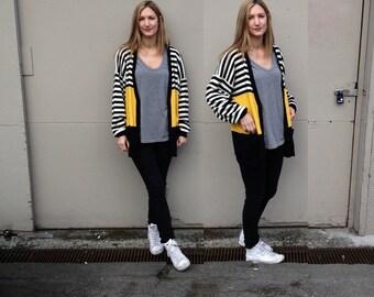 Oversized Stripey Wool Cardigan