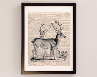 Vintage Deer Dictionary Print - Deer Art - Deer Antlers - Print on Vintage Dictionary Paper - Gift for Hunter - Red, Black, or Brown