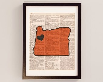 Vintage Oregon State Print - Corvallis Oregon Art - Print on Vintage Dictionary Paper - Oregon State University Beavers Football