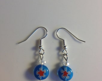 Blue & red glass drop earrings