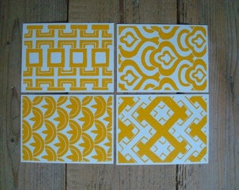Yellow Retro Patterns - set of 4 single cards with original lino print