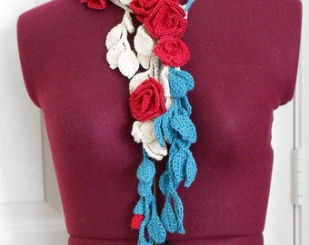 Floral crochet scarf/necklace/belt with roses