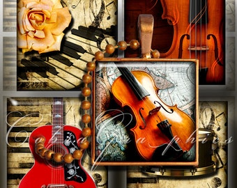 """Printable Digital Downloads - Musical Instruments - 1""""x1"""" and scrabble tiles - Digital Collage Sheet CG-458S - Jewelry, Scrapbooking, Crafts"""