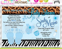 506: DIY - Leopard and Zebra Print Party Invitation Or Thank You Card