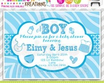 610: DIY - Baby Blue Zebra Print Party Invitation Or Thank You Card