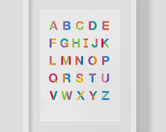 Custom building block alphabet print / poster for children and nursery – custom Helvetica alphabet — FREE SHIPPING