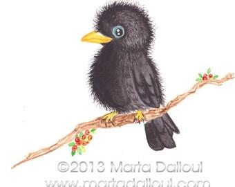 Bird Raven art  print. Baby Raven bird watercolor painting. Cute black bird print. Baby crow bird art print. Bird illustration. Nursery art.