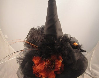 Witch hat black w large black crow n orange flower black tulle and