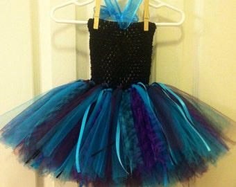 Turquoise, zebra print and black tutu with turquoise crochet top
