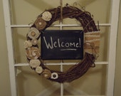 Distressed Chalkboard Grapevine Wreath with Burlap, Yarn and Crocheted Lace Flowers
