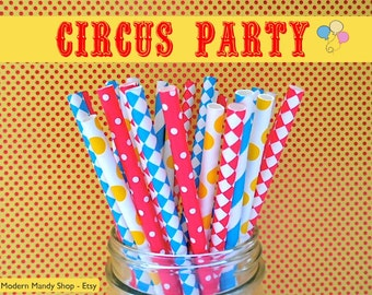 Red, Blue, & Yellow Mixed Paper Straws (Circus Party - Packs of 25 or 50 straws) Circus or Carnival Theme Party