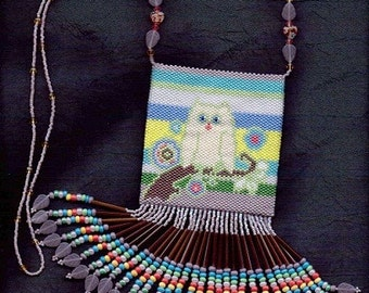 Folk Art Owl  Beaded Amulet Bag