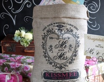 Wedding post box sack, shabby chic weddding. Personalized vintage style rustic wedding decor