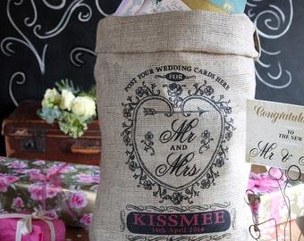 Wedding post box sack, shabby chic weddding. Personalized vintage style rustic wedding decor