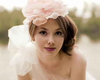 Oversized Peach Pink Wedding Flower Headpiece