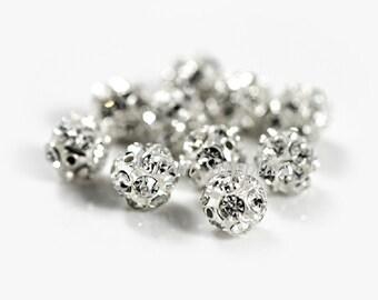 Silver Rhinestone Beads 8mm Clear Crystal White Fireball 10pcs