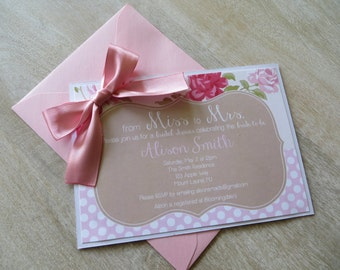 Feminine, Shabby Chic Bridal Shower Invitation with embellished bow