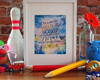 La Poulette Grise - Watercolor Art - Blue - Quebec Lullaby - Nursery Art - Amour Et Joie De Vivre