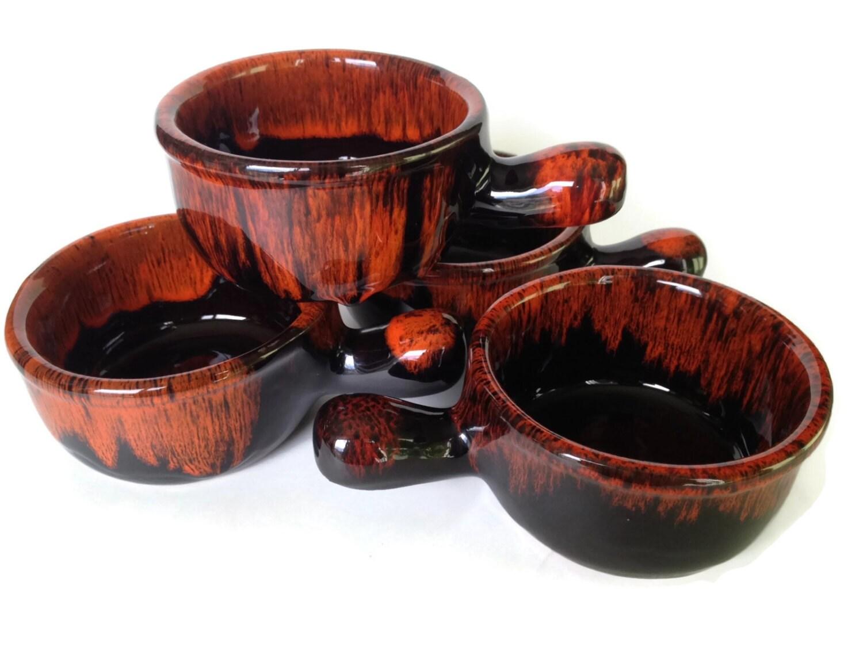 French Onion Soup Bowls Drip Glaze Pottery Crocks Evangeline