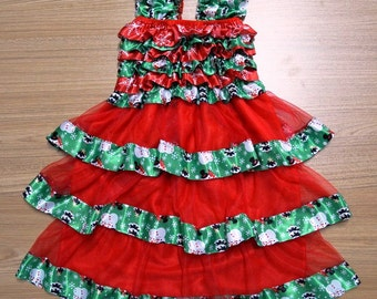 Christmas Petti Dress, Snowman Petti Dress, Red/Green Pettidress, Christmas Pettiskirt, Sizes M & L