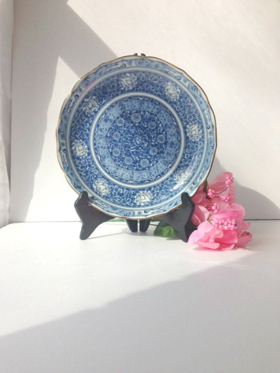 Blue and white asian decorative plate by andrea sadek