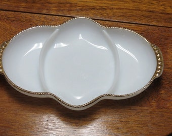 Milk Glass Divided Serving Dish ~ Fire King