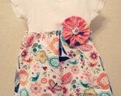 Infant Girls Fox and Polka Dots Dress, Bodysuit Dress, Easter Dress, Church Dress, Infant Dress, Toddler Dress, Newborn to 24 months