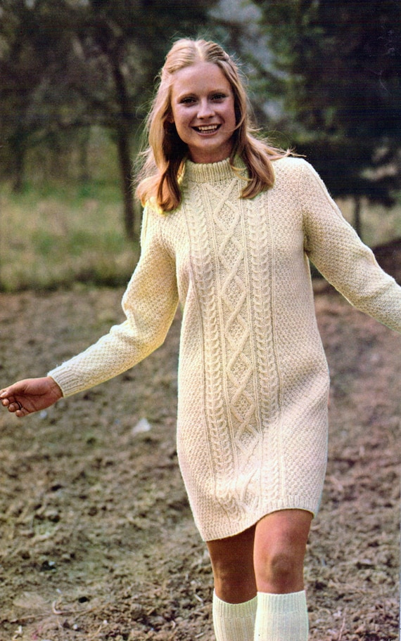 Knitting Pattern Cable Dress : Cable Dress Vintage Knitting Pattern Cabled Aran Long Sleeve