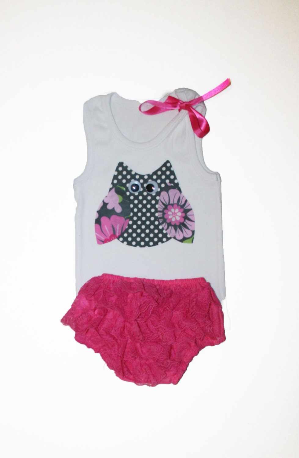Baby Girl Clothes Owl Tank Top and Pink Lace by PoshKidzShop