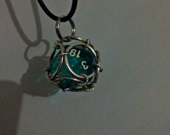 Polyhedron Dice Pendant In Sterling Silver Chain Mail Cage