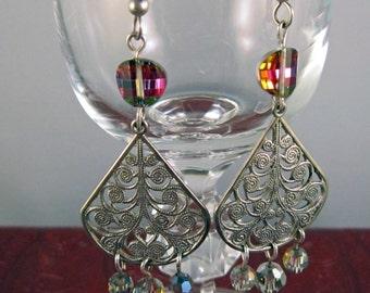 Vintage Swarovski Pagoda Potato Chip Bead Vitrail Chandelier Earrings