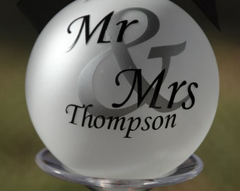 Monogram Our First Christmas Married Ornament Christmas Wedding Keepsake Decoration Holiday Gift Personalized Ornament Mr and Mrs